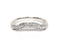 14K White Gold Diamond Contoured Wedding Band SKU: 116-13903