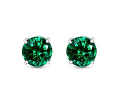 Green Tourmaline Color Cubic Zirconia Stud Earrings - St. Patrick Day