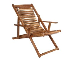 ROYAL BHARAT Seawing Wooden Folding 3-Step Adjustable Relaxing Chair | Outdoor | Living Room | Balco