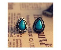 Retro National Wind Blue Pine Carved Gemstone Earrings1 Droplets E12