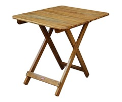 ROYAL BHARAT Wooden Folding Brown Portable Table with Attractive Top Garden Table - Brown