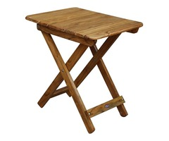ROYAL BHARAT Wooden Folding Brown Portable Table with Attractive Top | 24 X18 cm - Bronze