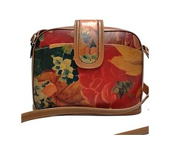 100% Genuine Cowhide Leather with Floral Print - Domed Cross-body Bag 'Grande' Purse Bag For $129