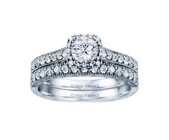 14k White Round Cut Cushion Halo Diamond Vintage Engagement Ring - Rm1457