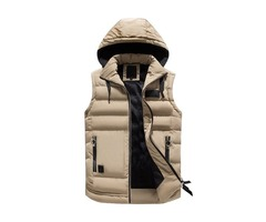 Winter Plain Hooded Warm Mens Down Vest