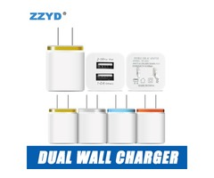 ZZYD For Samsung S8 Note 8 Dual USB Wall Charger 5V 2.1A 1A Metal Travel Adapter US EU plug AC Power