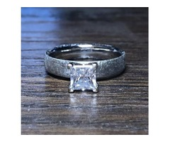 4mm Wide Meteorite Engagement Ring with stunning 1CT Moissanite Princess Center