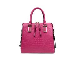 Women Leisure Solid Crocodile Pattern Handbag