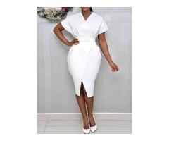 V-Neck Short Sleeve Mid-Calf High Waist Office Lady Womens Dress
