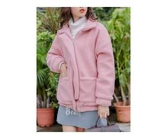 Women Fluffy Pink Fleece Long Sleeve Zipper Pockets Coats