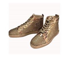 PU Plain High-Cut Upper Rhinestone Mens Sneakers