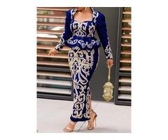 Long Sleeve Square Neck Ankle-Length Elegant Bodycon Womens Dress