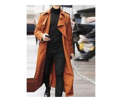 Long Plain Button Double-Breasted Mens Trench Coat