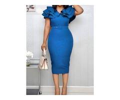 Falbala Short Sleeve V-Neck Ruffle Sleeve Bodycon Womens Dress