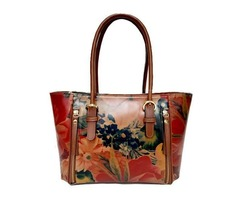 100% Argentinian Floral Cowhide Leather Tote Styled Handbag Purse For $175