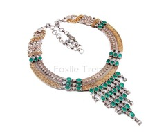 Dual Tone Charming Necklace with Green Stones