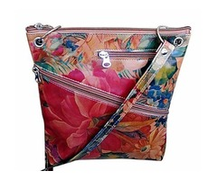 100% Genuine Argentinian Floral Leather Cowhide Purse Bag - Cross-body Style For $125