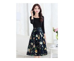 Floral Print Patchwork 3/4 Sleeve Pleated Womens Skater Dress