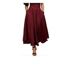 Plain Double Pockets Womens Maxi Skirt