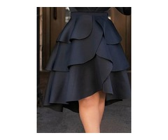 Asymmetric Knee-Length A-Line Womens Cupcake Skirt