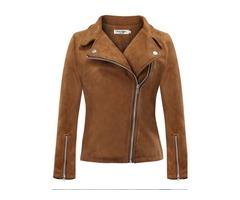 Slim Casual Suede Zipper Plus Size Womens Jacket