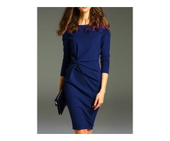 Knee-Length Pleated Polyester Womens Bodycon Dress