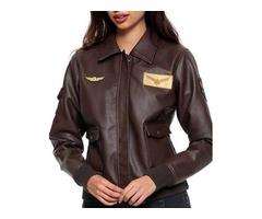 Brie Larson Flight Captain Marvel Brown Leather Jacket