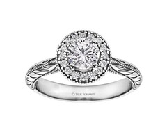 Round Cut Halo Diamond Vintage Engagement Ring - SKU: RM1503RTT