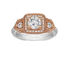 Round Cut Halo Diamond Vintage Engagement Ring - RM1539RTT