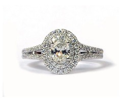 Forevermark 14K White Gold Diamond Oval with Double Halo Engagement Ring SKU: 115-10026