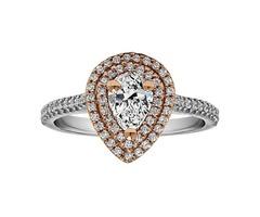 Pear Shape Halo Diamond Vintage Engagement Ring Sku: Rm1394pstt/G7