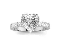 A 1.5 GIA Certified Heart Cut Classic Prong Set Diamond Engagement Ring