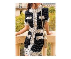 Short Sleeve Patchwork Stand Collar Mid Waist Color Block Womens Dress