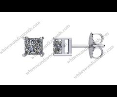 Princess Shaped Diamond Stud Earrings