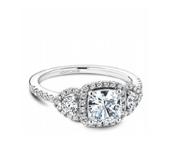 Noam Carver Cushion Three Stone Engagement Ring - Sku: Deng4645