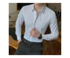 2019 NEW FASHION COTTON LONG SLEEVE SHIRT SOLID SLIM FIT MALE SOCIAL CASUAL