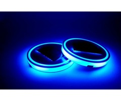 Blue LED Solar Car Cup Mat Anti Slip Bottle Holder Pad Drinks Coaster Built-in Vibration Light Senso
