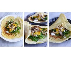 Savory Crepes with Oyster Mushrooms, Arugula, and Goat Cheese | Recipe - R&R Cultivation