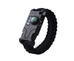 IPRee® 8 In 1 Outdoor SOS Survival Bracelet LED Light Compass Whistle Multifunction Tool Kits