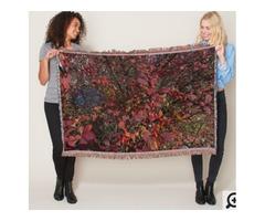 Cranberry Hue Wild Berry Bush Throw Blanket