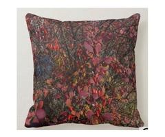 Cranberry Pink Green Berry Bush Throw Pillow