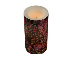 Cranberry Colored Berries with Pink Leaves Flame-less Candle