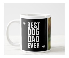 Fathers Day Best Dog Dad Ever Photo Giant Coffee Mug