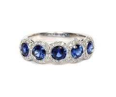 Platinum Sapphire and Diamond Band - SKU: 213-10497