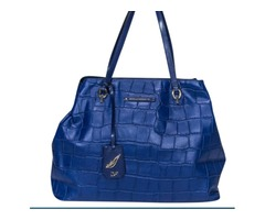 Pre-owned Diane von Furstenberg - Blue Reptile Leather Tote