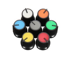 10Pcs Red/Blue/Orange/Grey/Green/White/Yellow Plastic For Rotary Taper Potentiometer Hole 6mm Knob