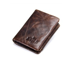 Men Genuine Leather Tri-fold Short Wallet Retro Wallet