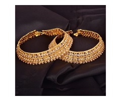Gold Plated Stone Anklet – White Stone
