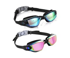 aegend Swim Goggles, Pack of 2 Swimming Goggles No Leaking Anti Fog UV Protection Crystal Clear Visi