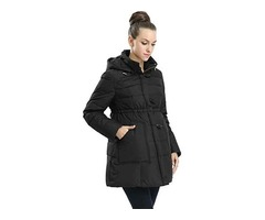 Maternity Outerwear Lily Hooded Cinch Waist Down Parka Coat